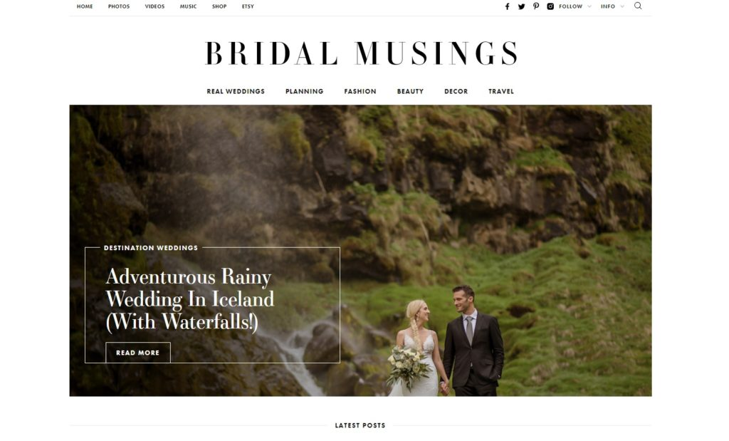 Press Release for Iceland Wedding Planner on Bridal Musings
