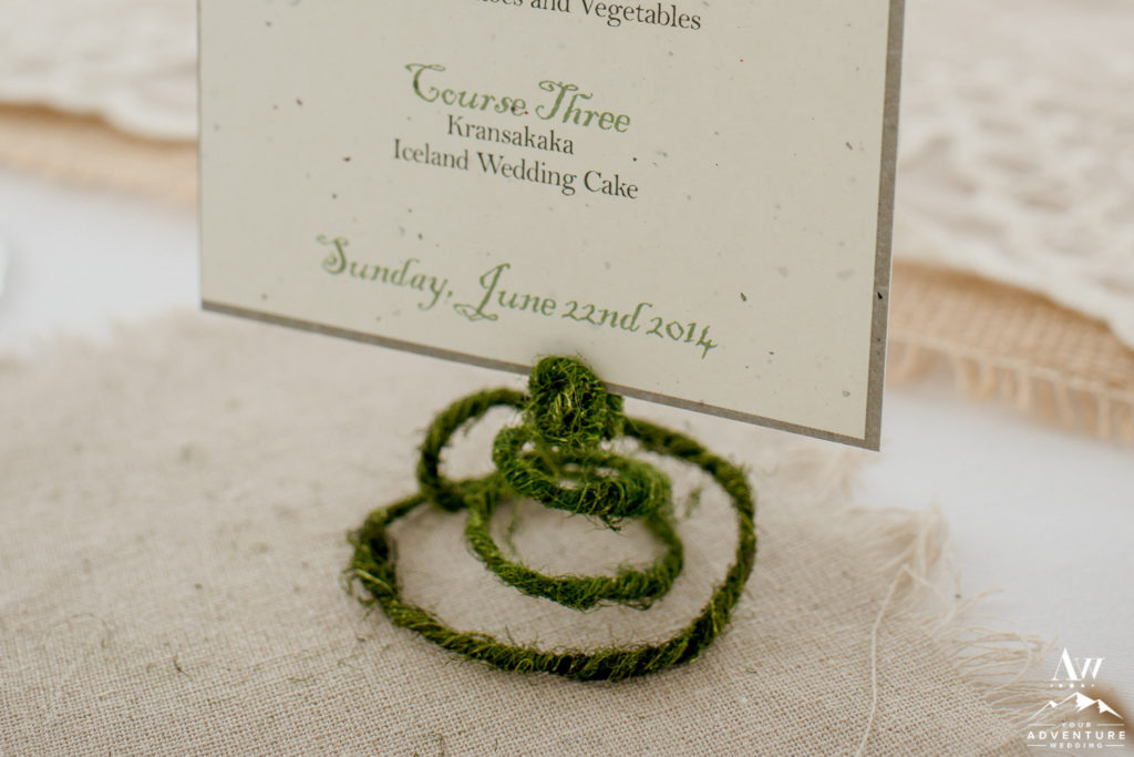 moss and metal place card holder or menu holder or table number holder