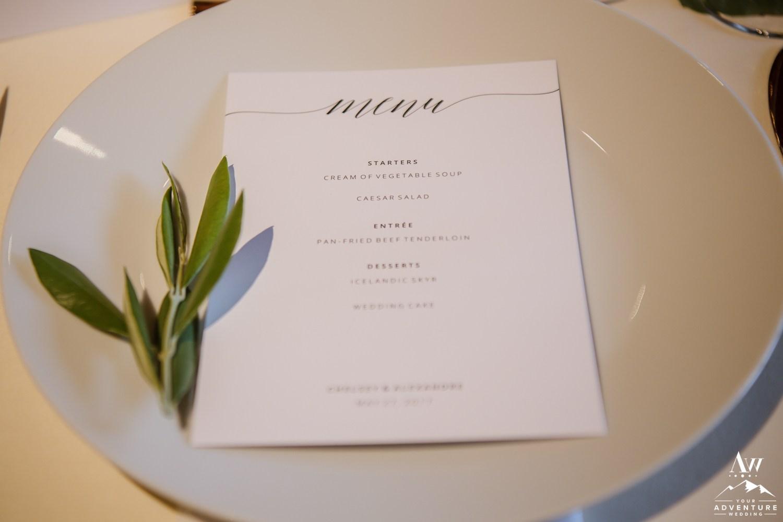 Iceland Wedding Menu at Hotel Ranga