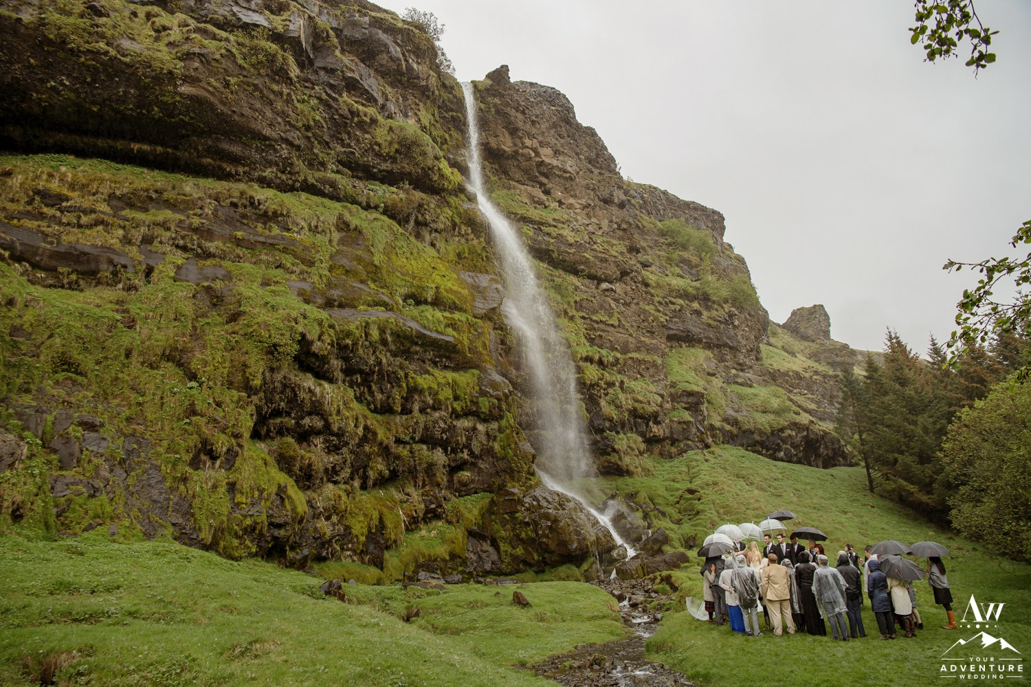 Secret Waterfall Wedding in Iceland