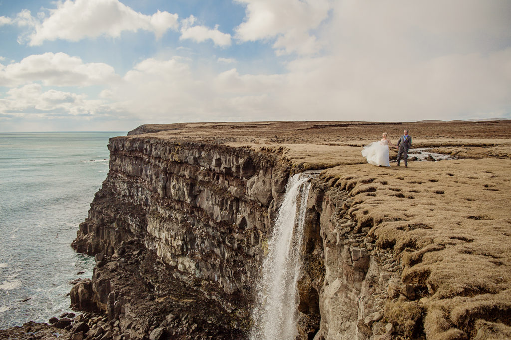 Cliff Waterfall Wedding Photos in Iceland