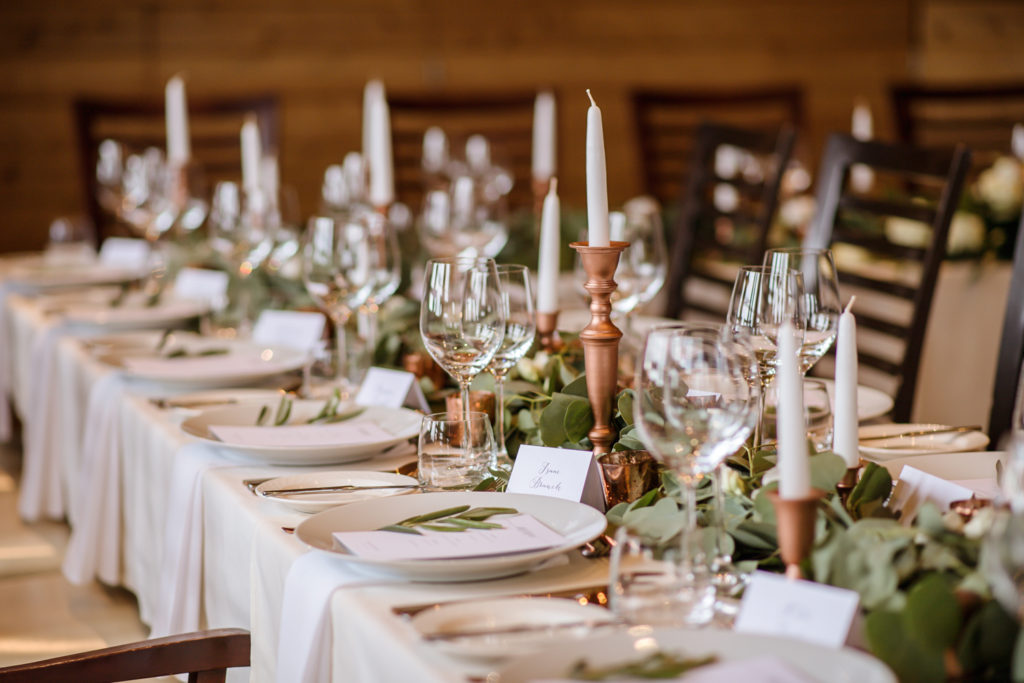 Rose Gold Iceland Wedding Reception Setup
