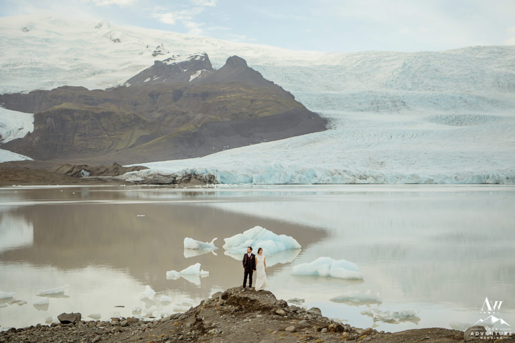 Couple at Fjallsárló Glacier Lagoon on their Wedding Day