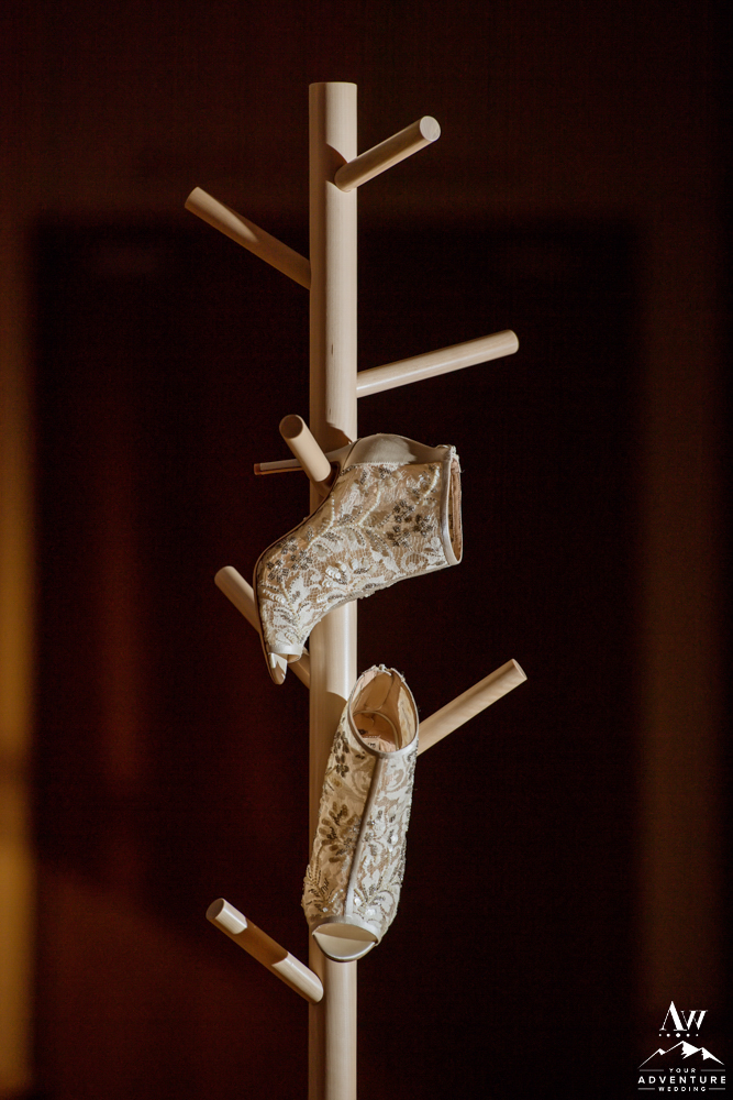 Iceland Wedding Shoes hung on Coat Rack at Icelandair Vik