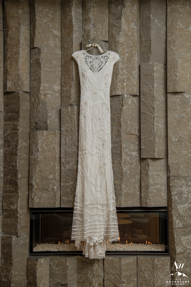 Adventure Wedding Dress hung at Icelandair Vik