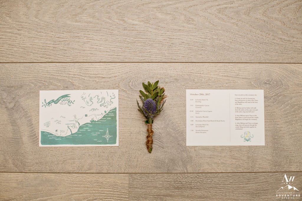 Iceland Wedding Invitation and Groom Buttonhole Flower