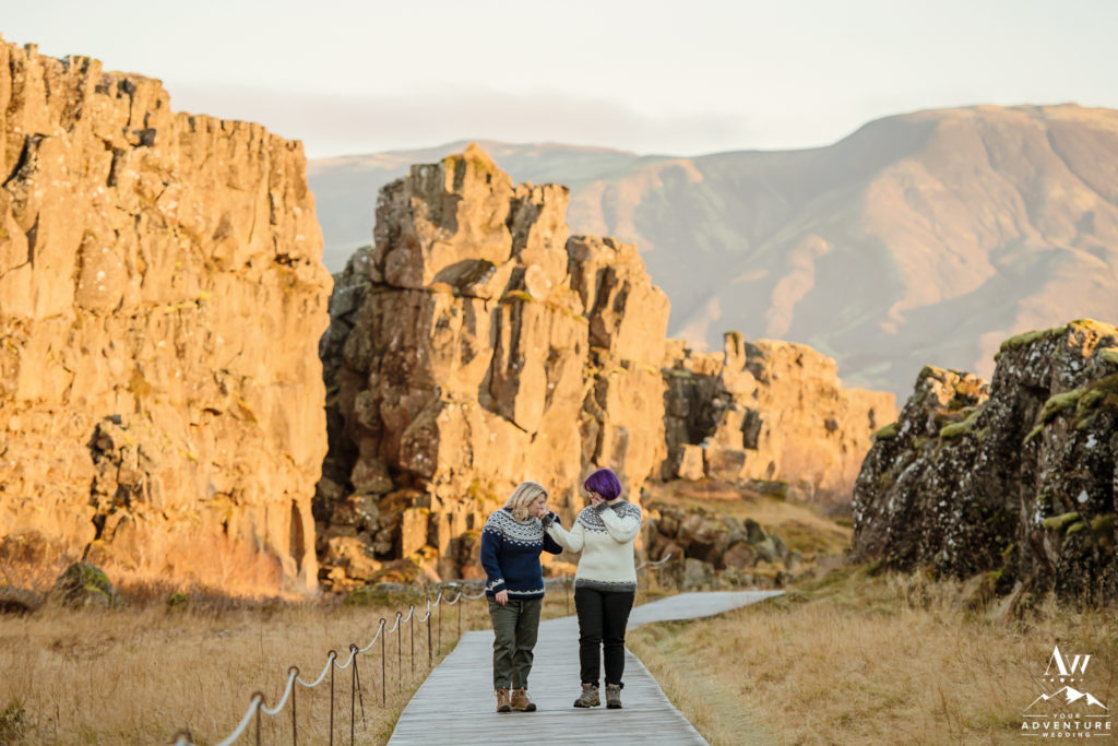 Two Girls Walking After their Proposal Thingvellir National Park