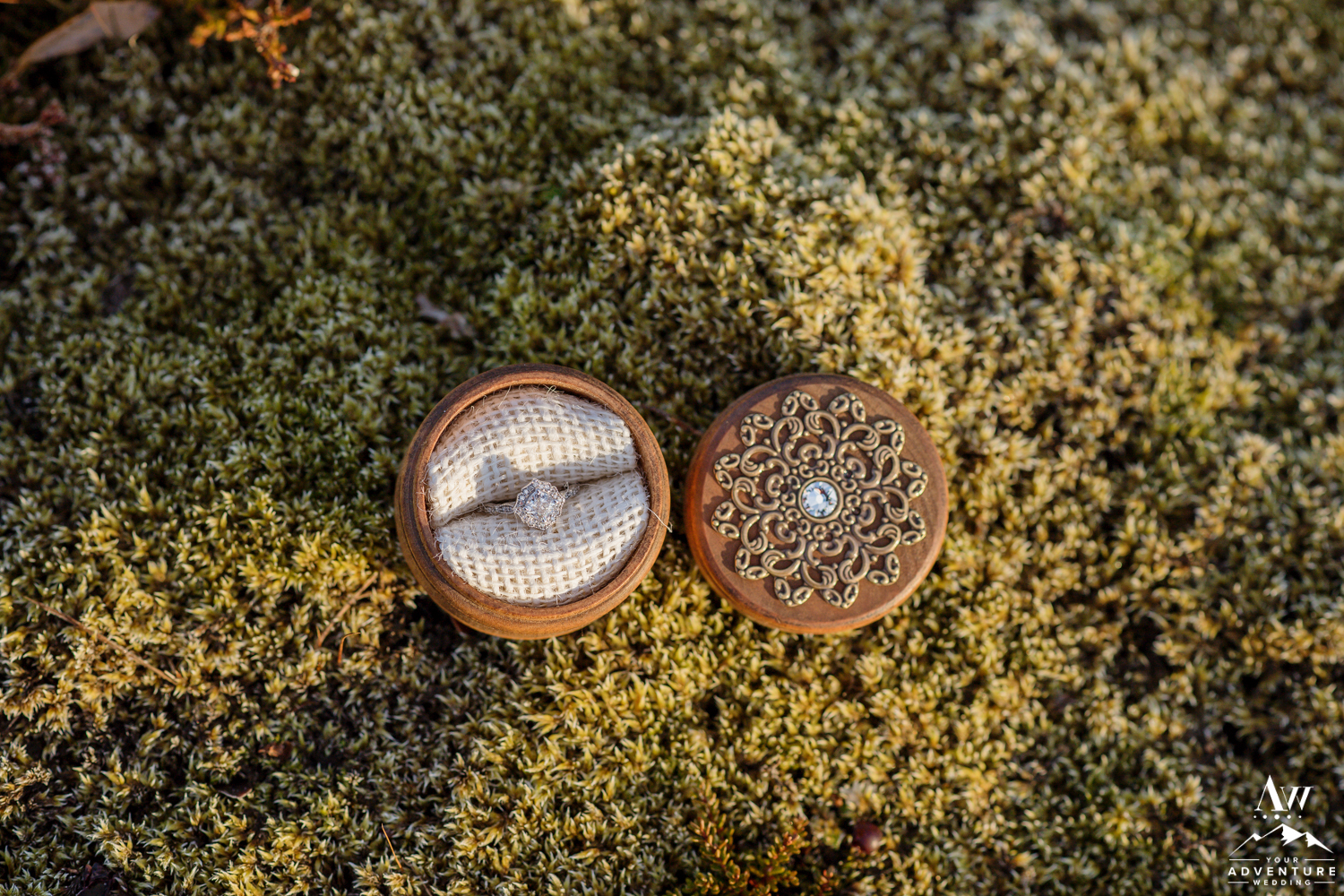 Iceland Engagement Ring Sitting on Moss