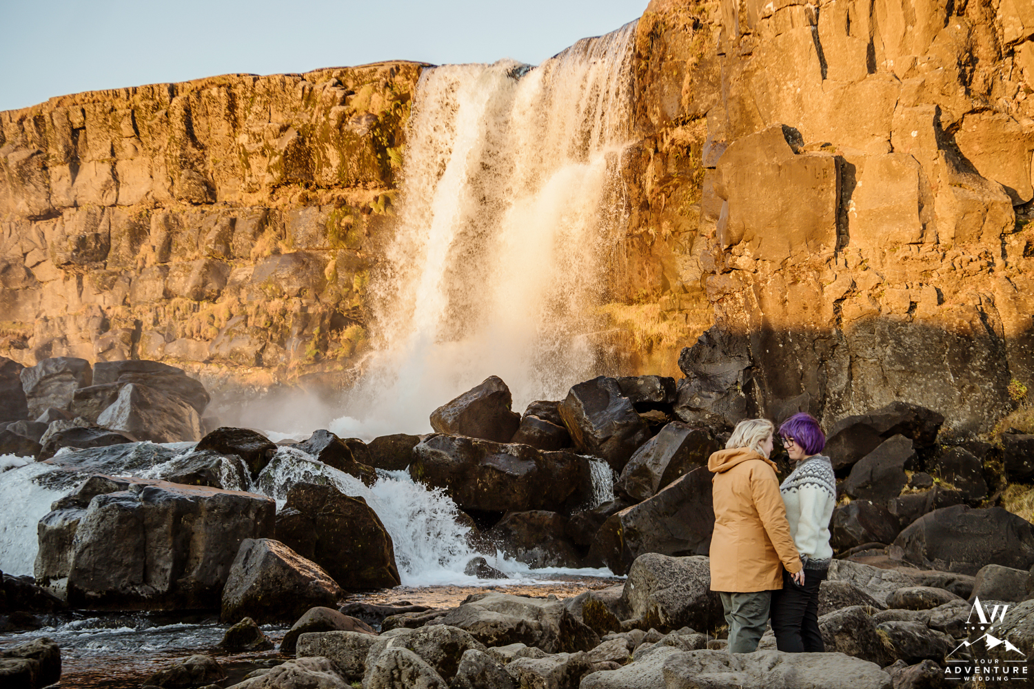 Oxararfoss Waterfall Proposal Iceland LGBT Proposal Two Girls