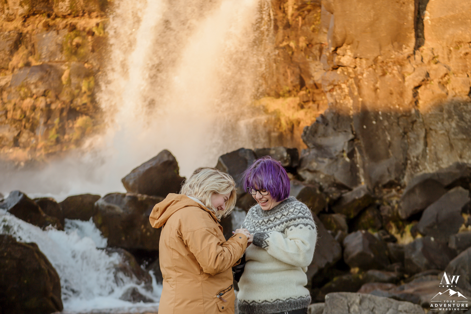 Sunrise Surprise Proposal in Iceland Thingvellir National Park