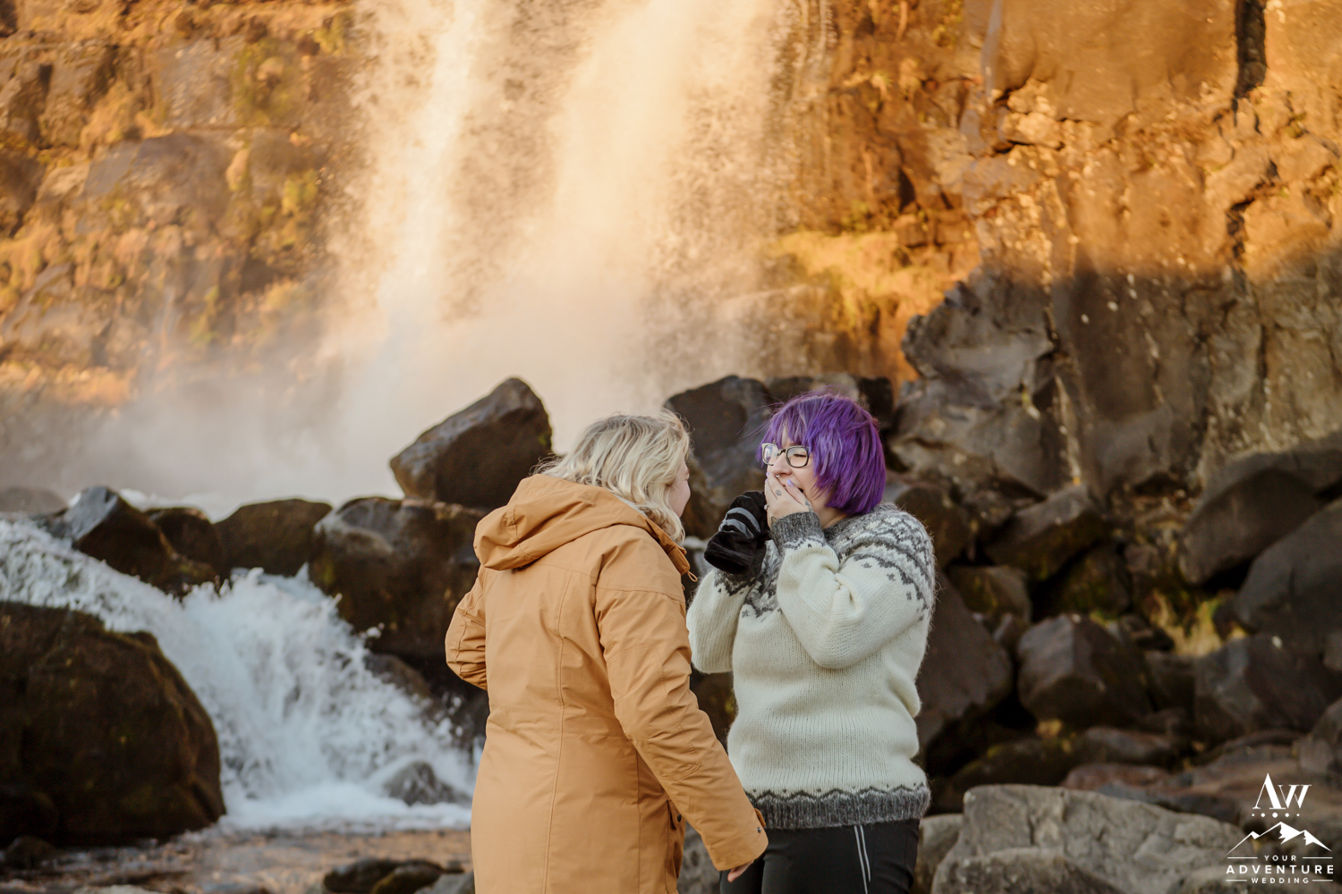 LGBT Proposal Iceland in Iceland at Sunrise