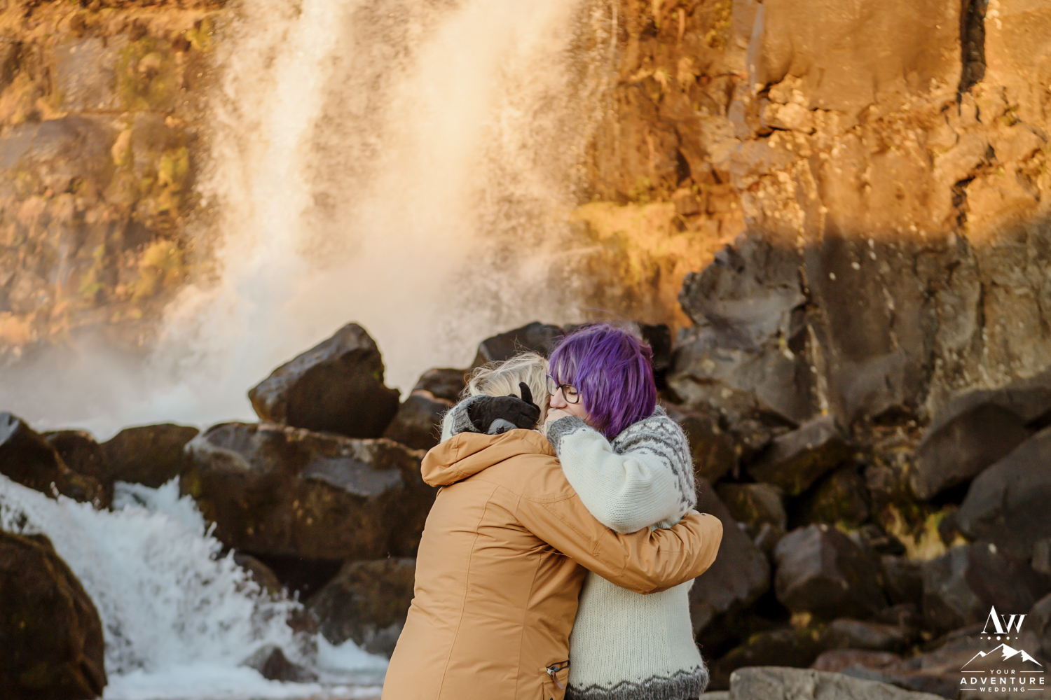 Sunrise LGBT Proposal in Iceland at Thingvellir National Park
