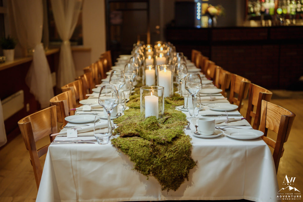 Moss as a Table Runner Iceland Wedding