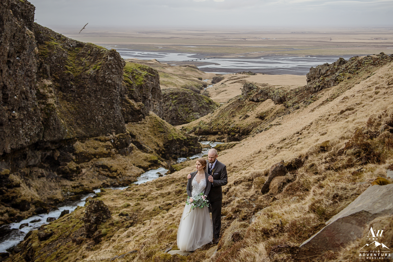 Iceland Wedding Couple Standing in Thorsmork Valley