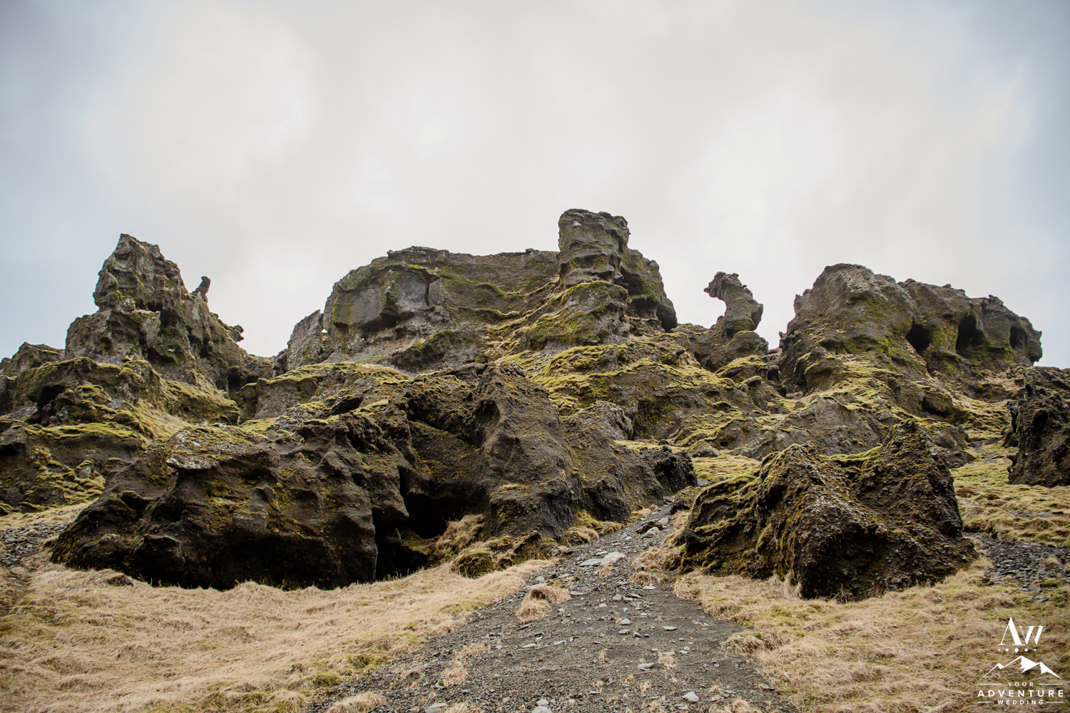 Lava Rock Walls for Iceland Wedding Location