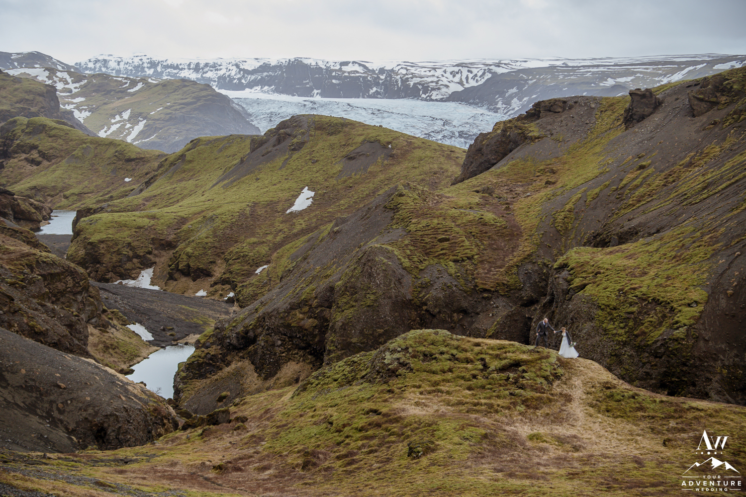 Couple in Iceland during Hiking Elopement