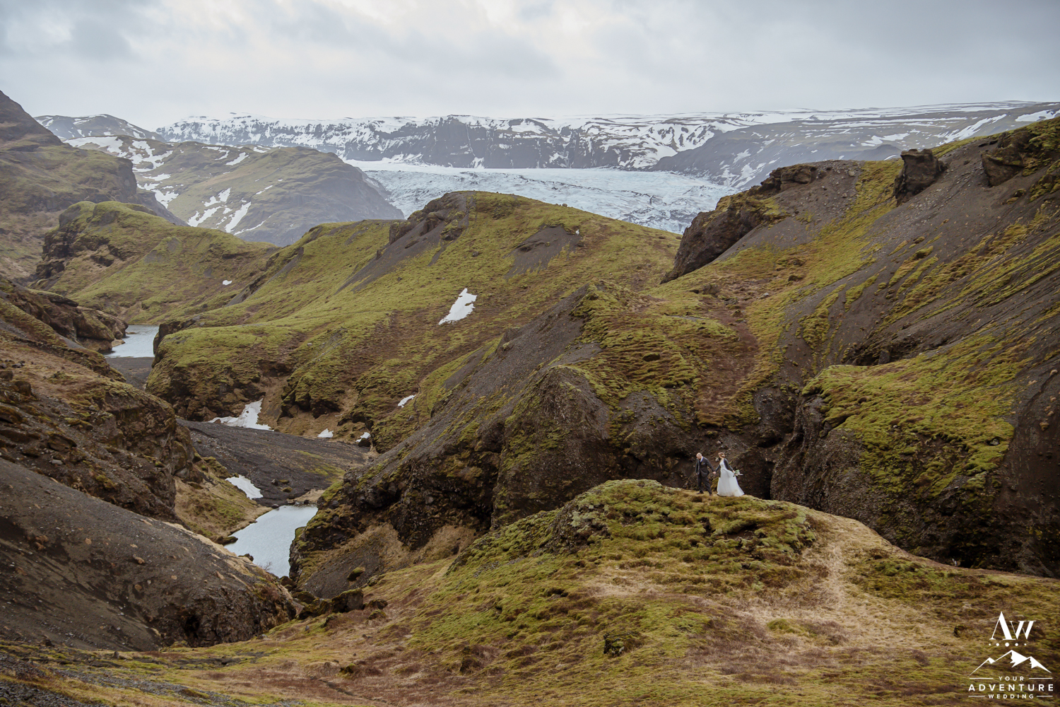 Iceland Hiking Wedding with Glacier View