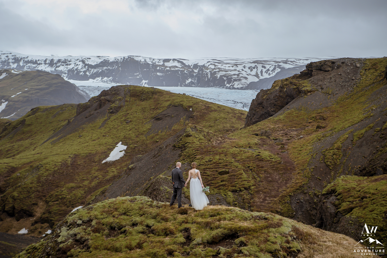 Iceland Wedding Couple enjoying a glacier view