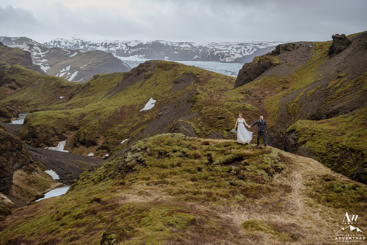 Hiking wedding in Iceland Couple Standing on a mountain