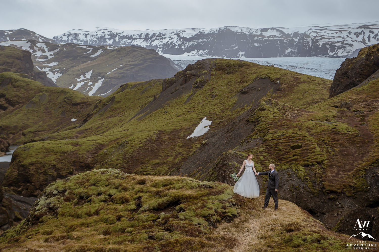 Iceland Adventure Wedding Couple exploring a Mountain