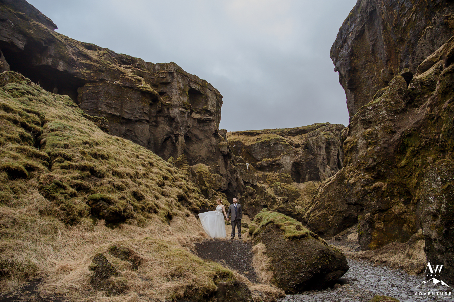 Bride and Groom on Iceland Wedding day in a Canyon