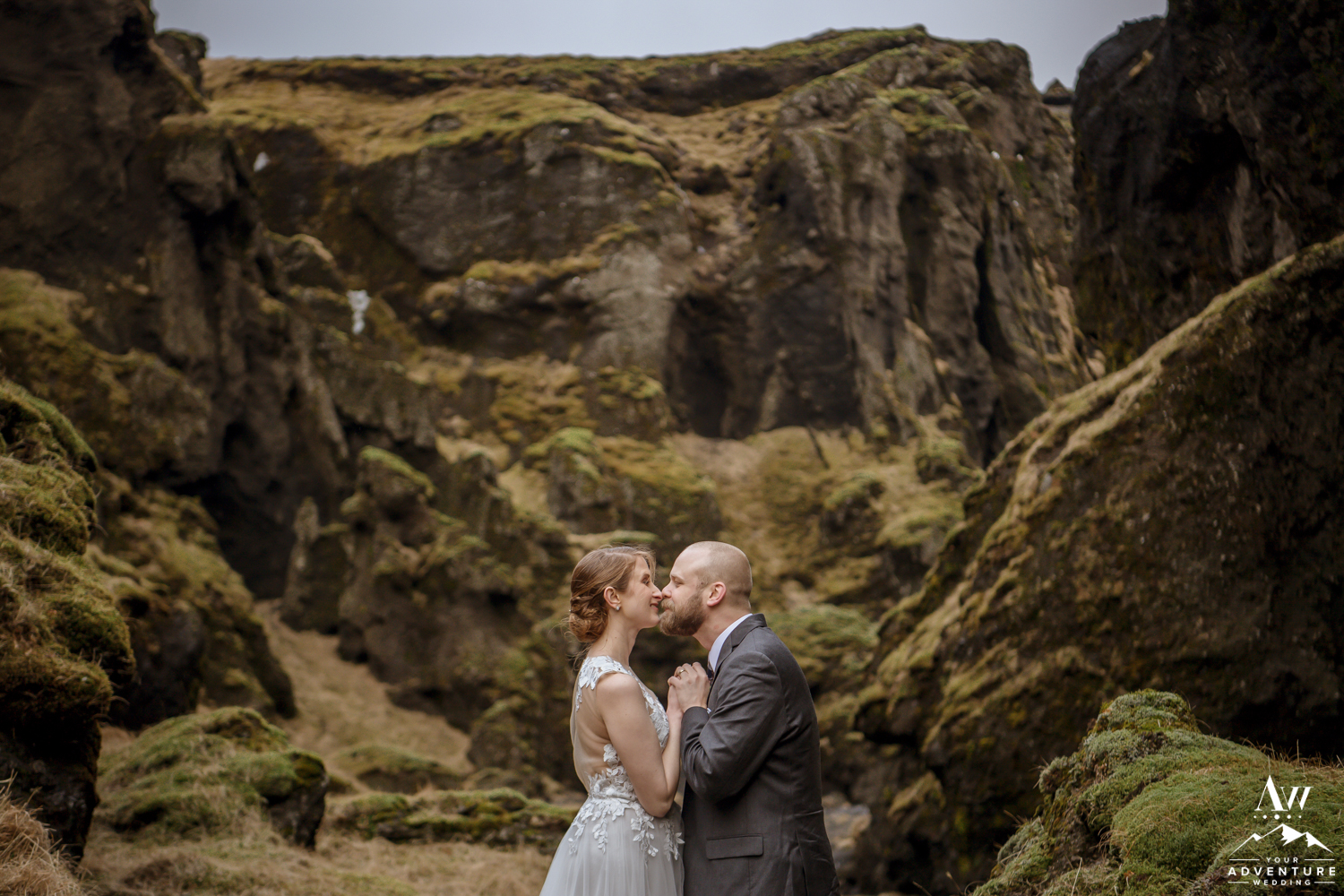 Couple Kissing in a Canyon on Iceland Elopement Adventure