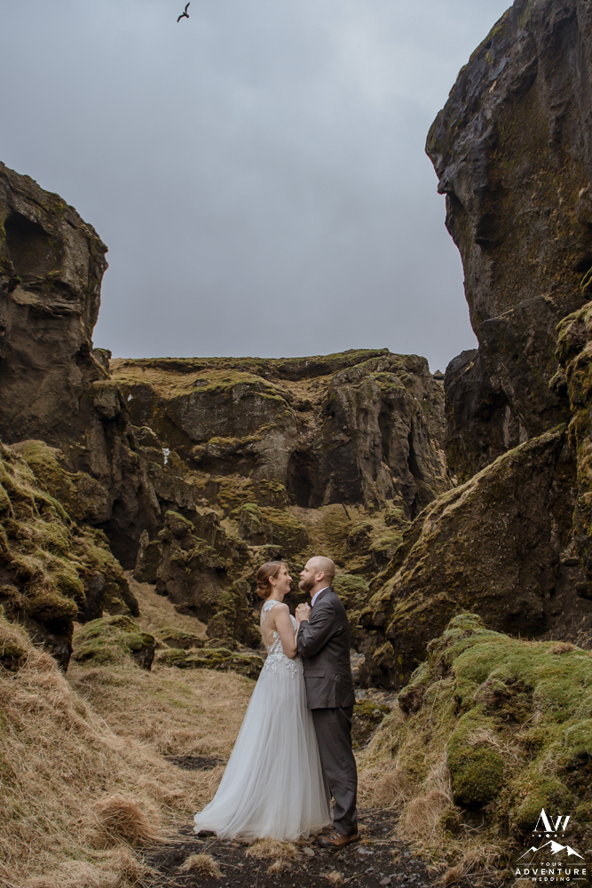 Mollie and Andy in a Canyon during their Iceland Elopement Adventure