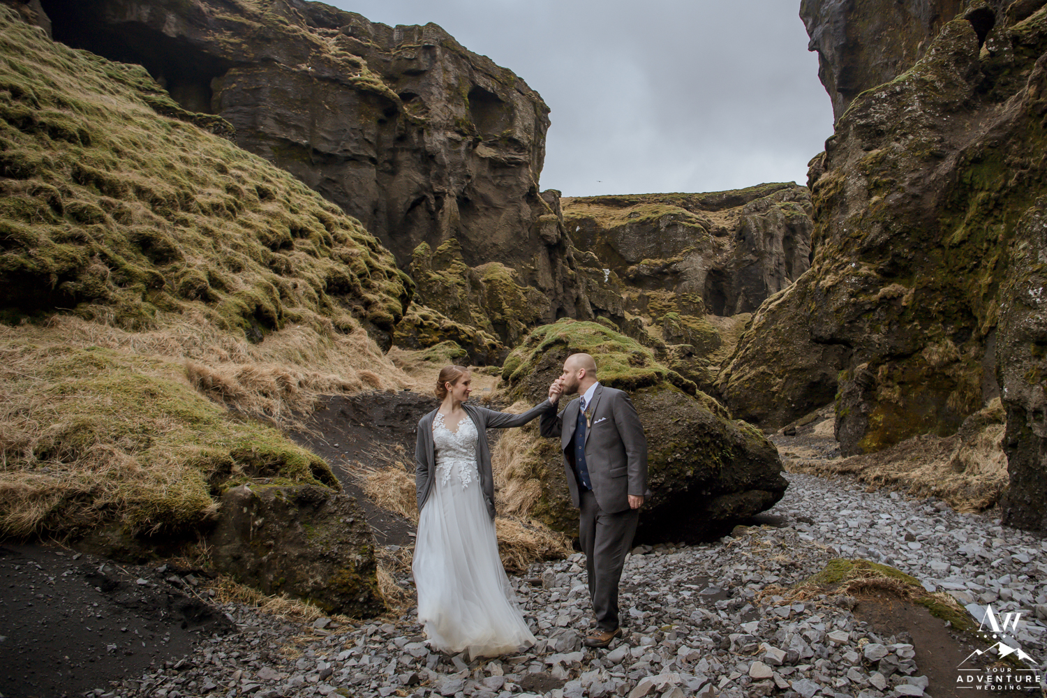 Iceland Wedding Couple in a Canyon