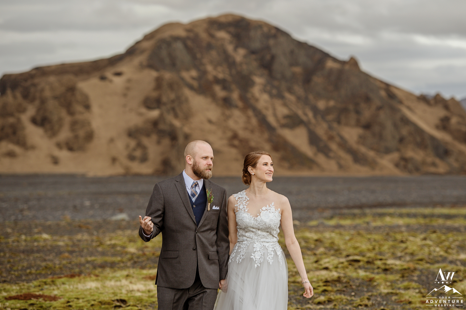 Iceland wedding couple smiling in Thorsmork