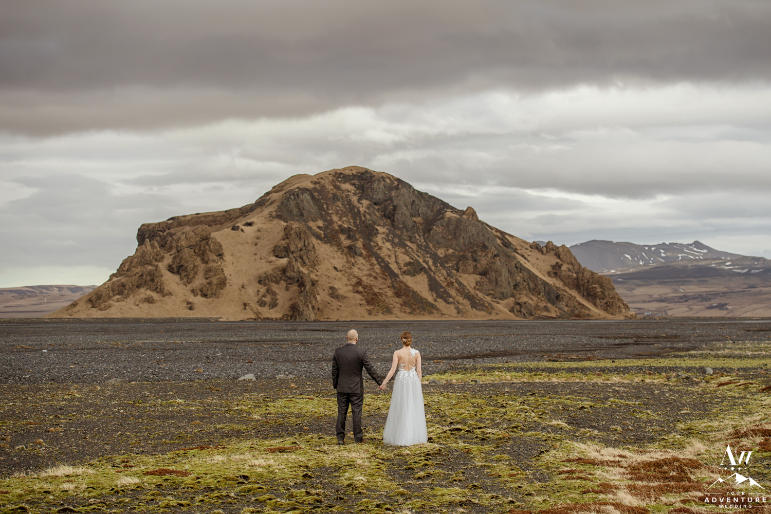 Iceland elopement couple enjoying the view in Thorsmork