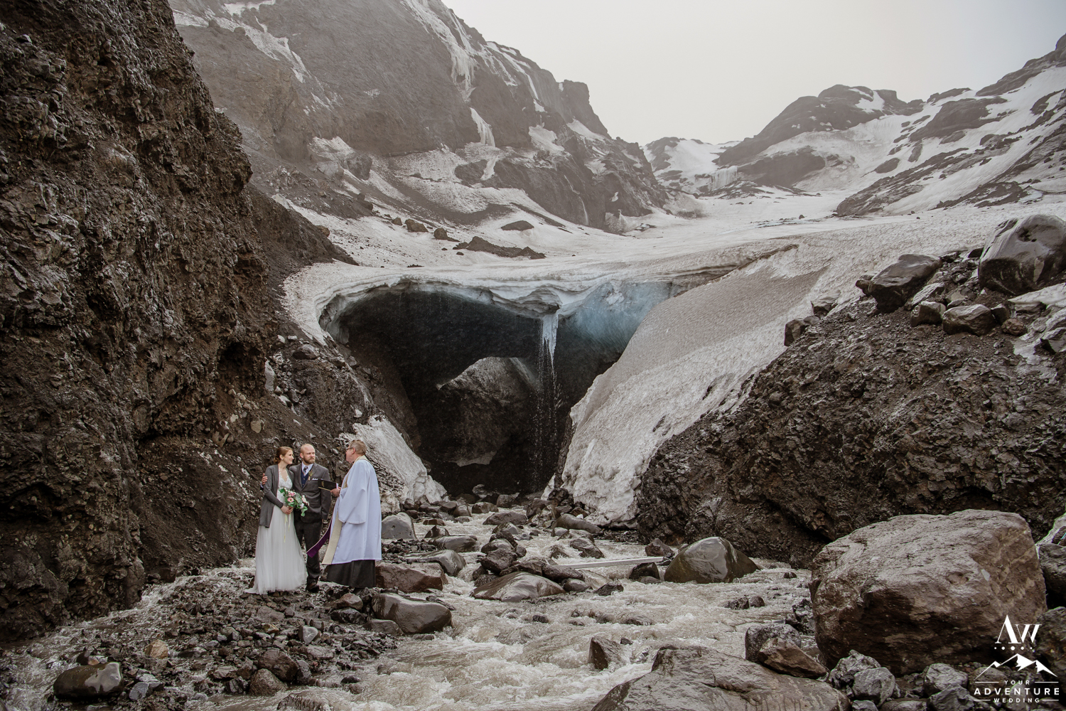 Adventurous Hiking Elopement at Ice Cave in Iceland