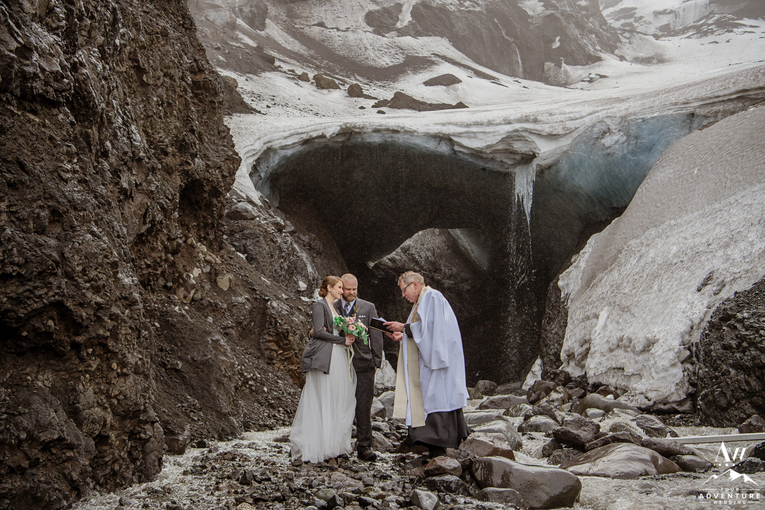 Iceland ice cave wedding ceremony