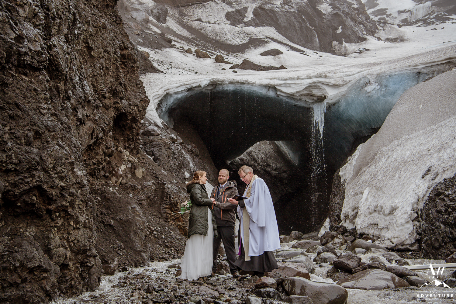 Iceland wedding ceremony in front of an ice cave