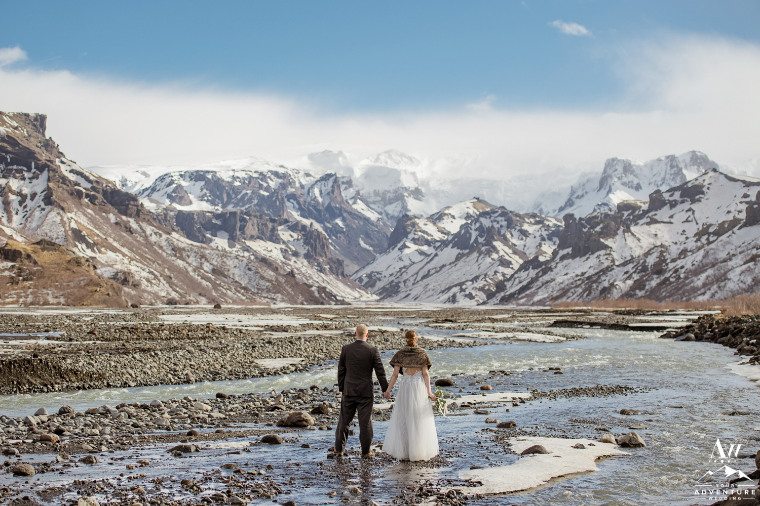 Mollie and Andy looking at the mountains during Iceland Elopement