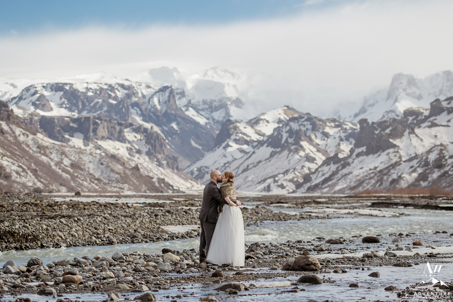 Adventurous Couple kissing in Iceland