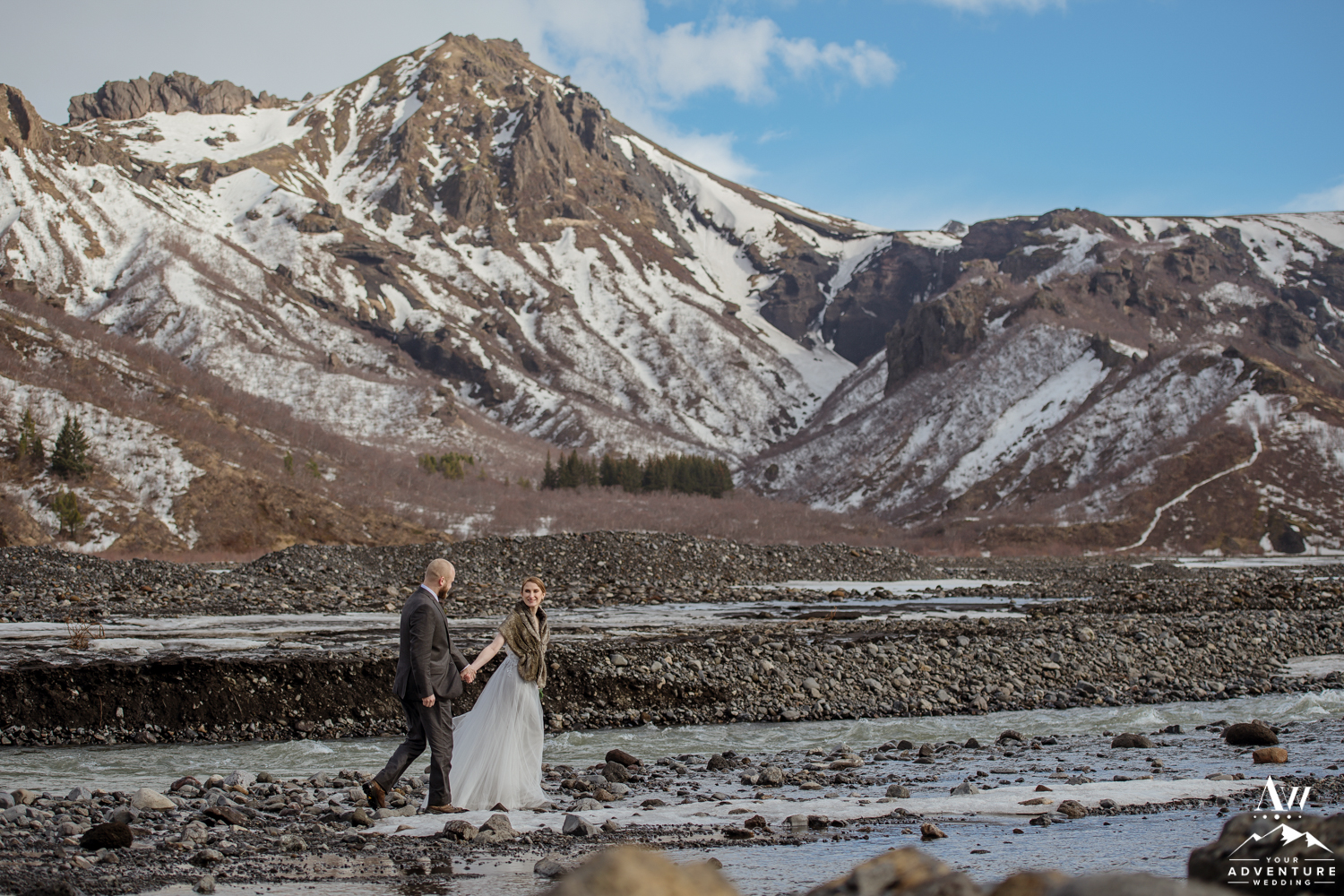 Iceland Wedding Couple hiking in Thorsmork