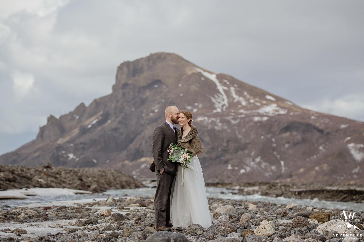 Couple Kissing during Iceland Adventure Elopement Photo