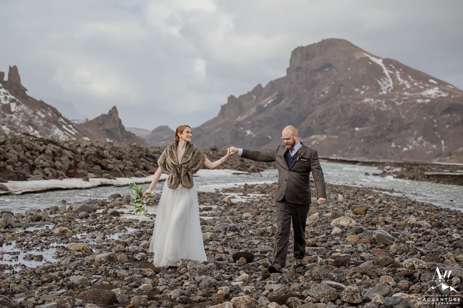 Couple dancing during Iceland adventure wedding