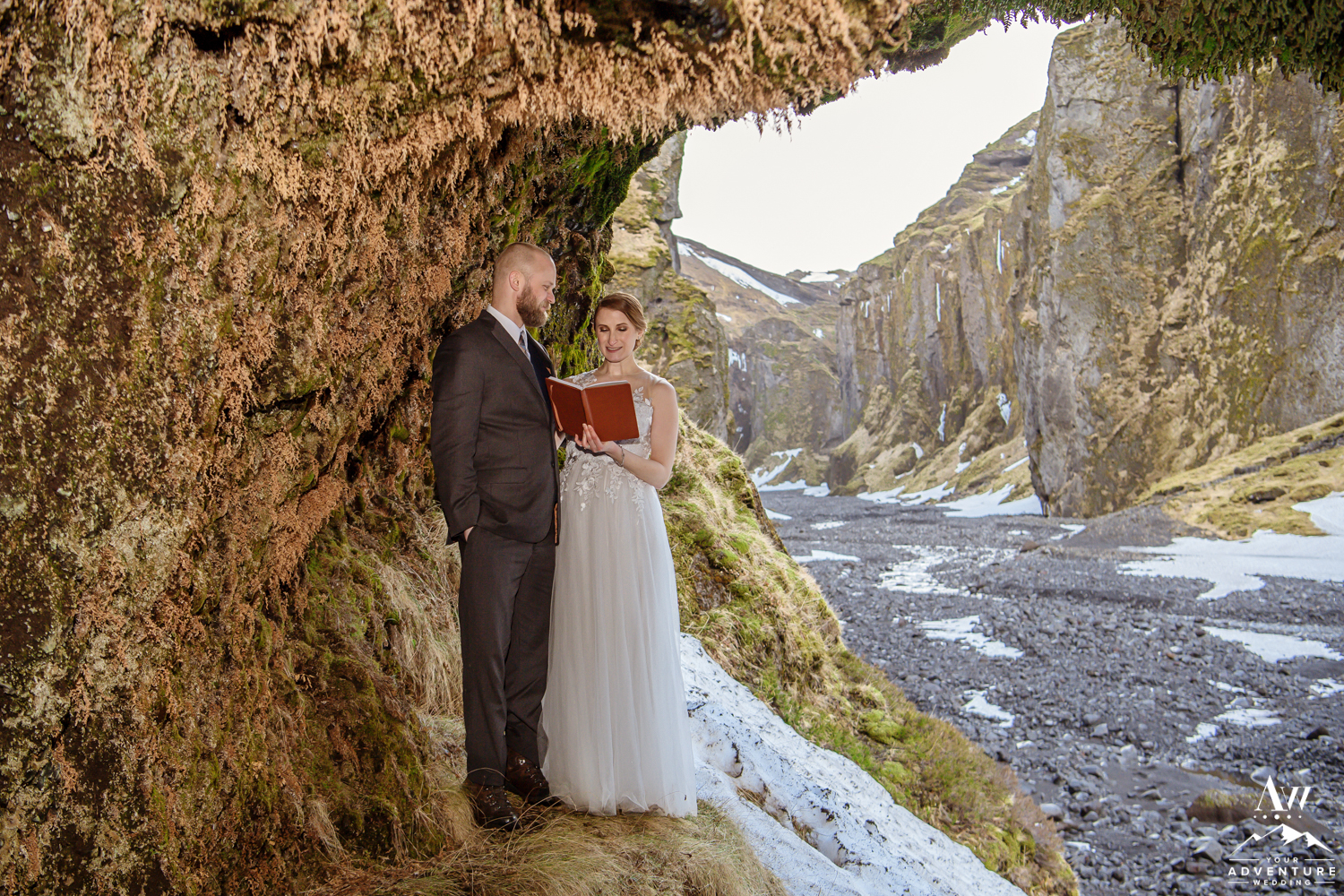 Bride says her Iceland Wedding Vows in Cave