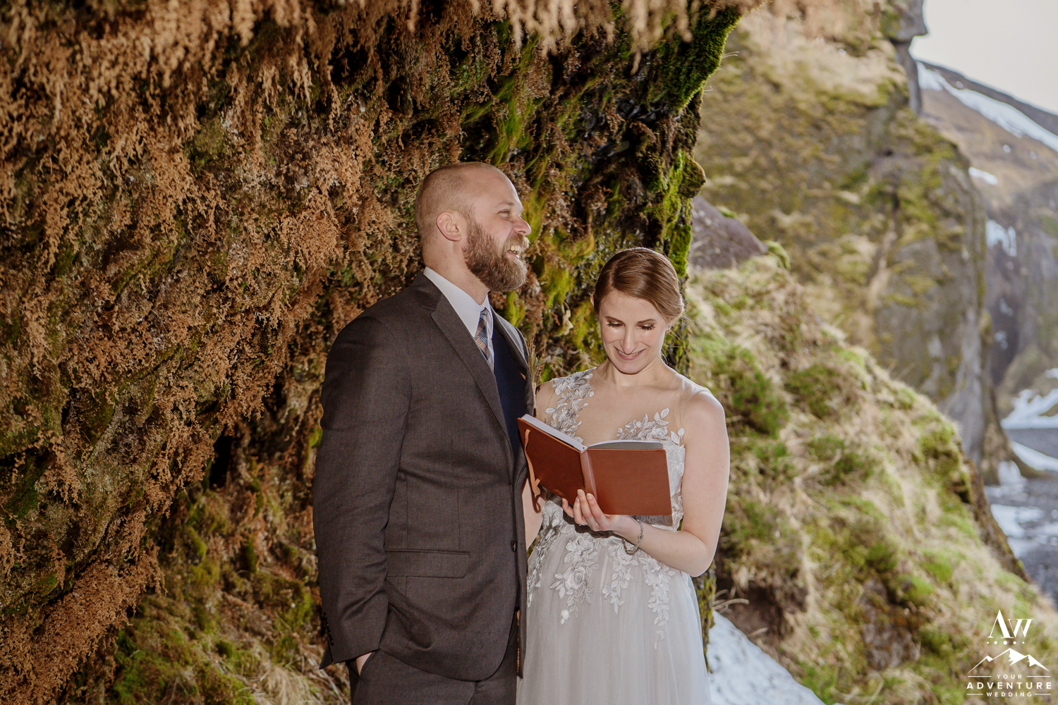 Couple says wedding vows in Cave in Iceland