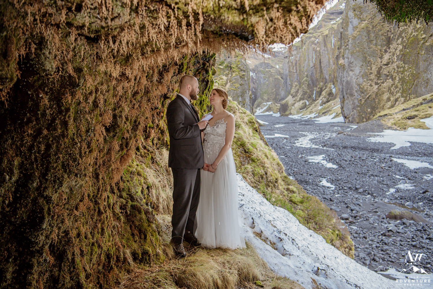 Iceland Wedding Couple Saying their Vows in a Cave