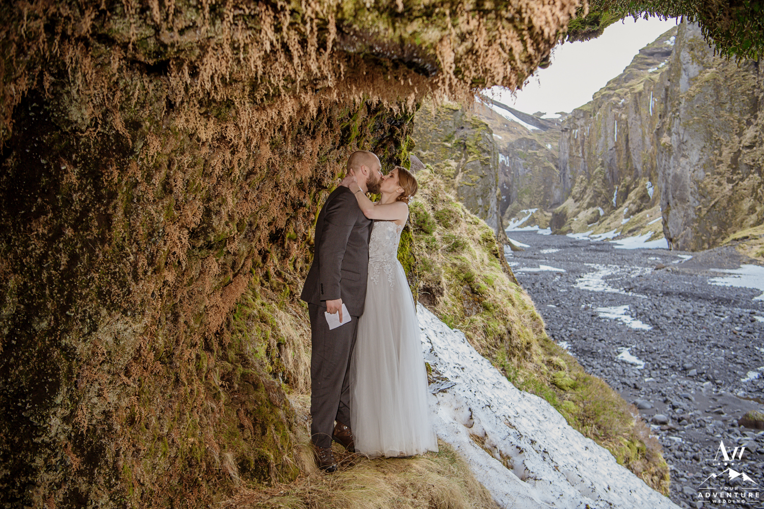 Couple Kisses during Iceland Elopement Adventure