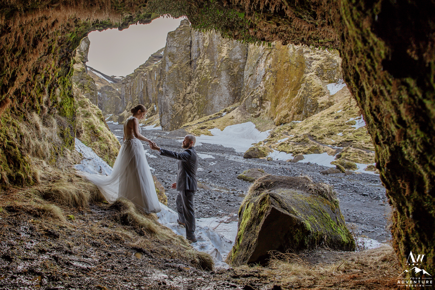Iceland Wedding Couple in a Cave