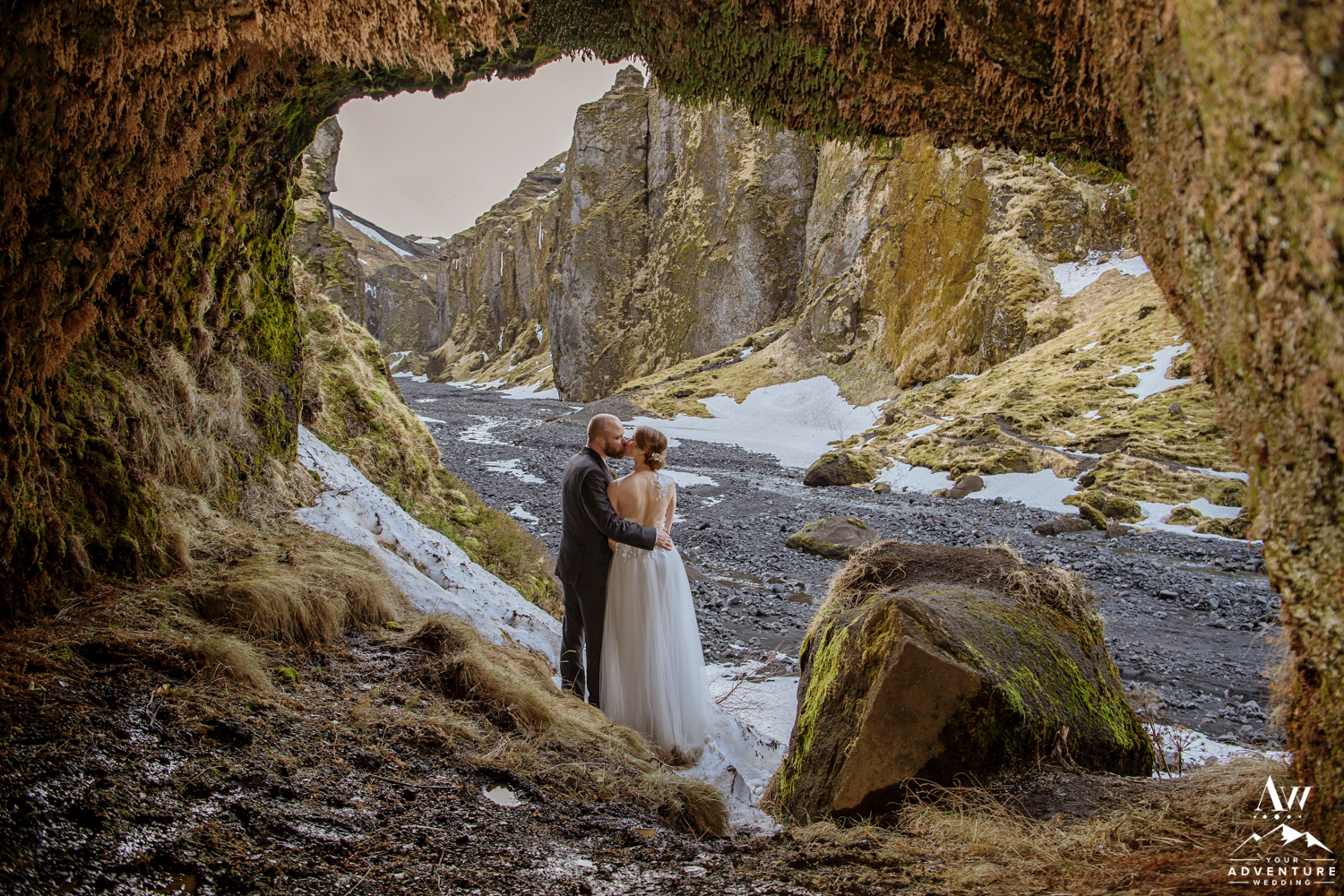 Couple inside of Iceland Cave during wedding