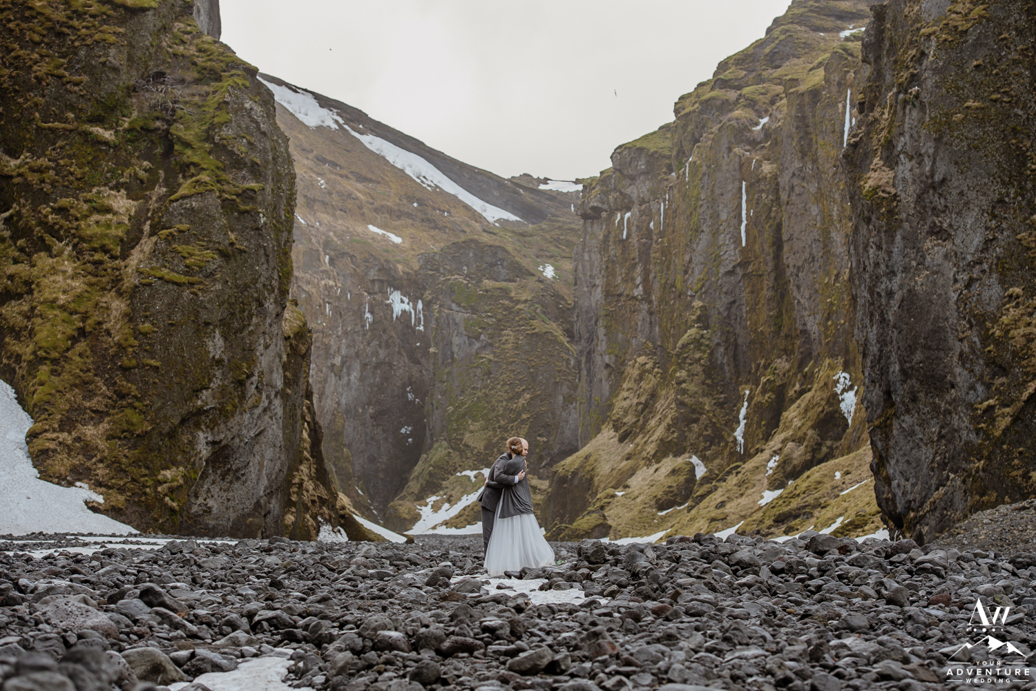 Iceland Canyon Elopement couple hugging