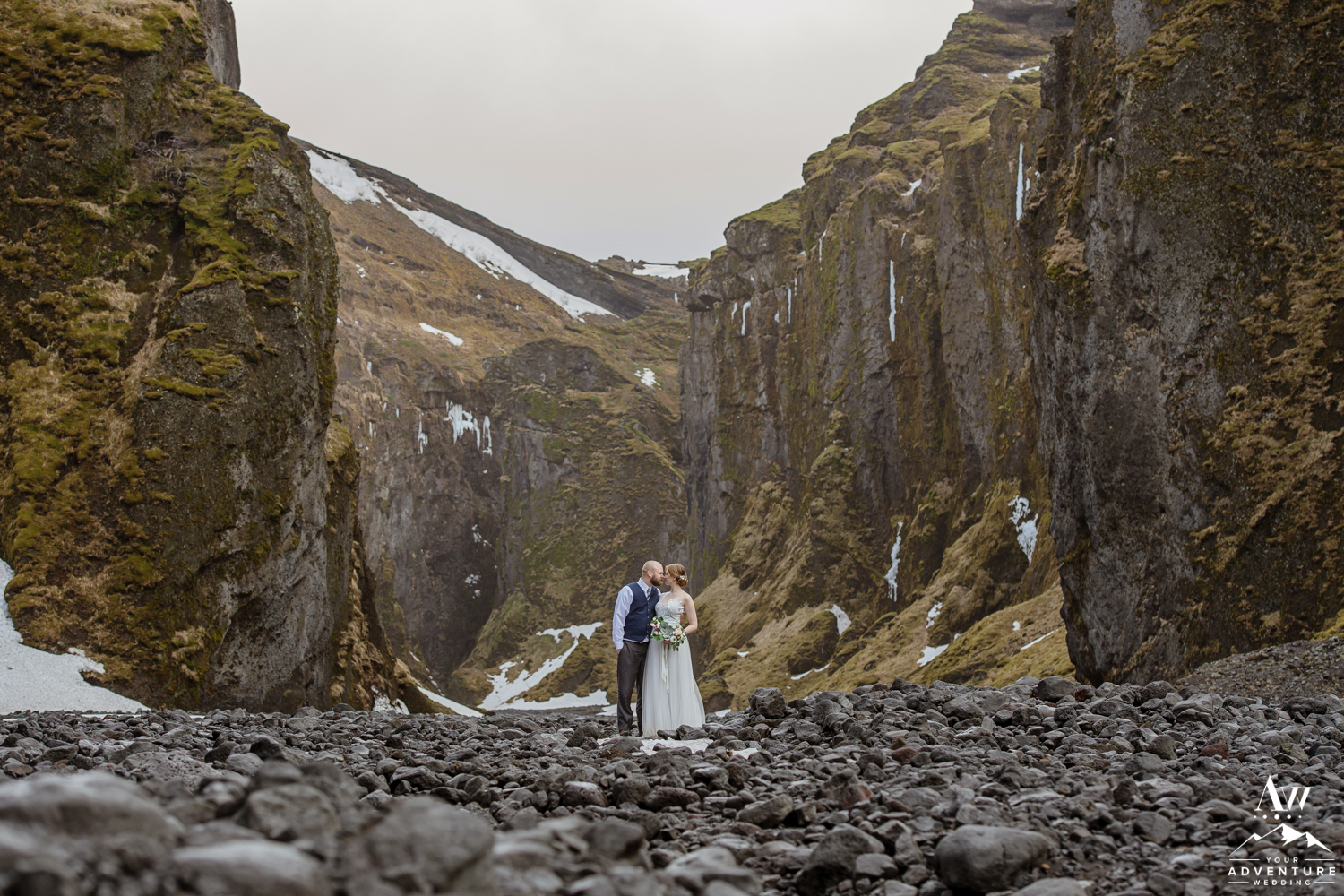 Canyon Wedding in Iceland Couple Kissing