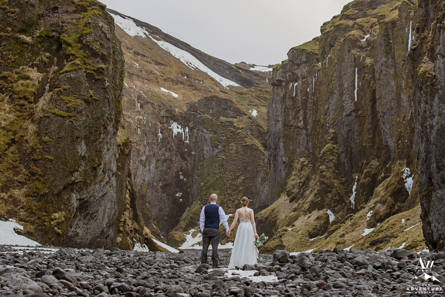 Couple Admiring the Canyon in Iceland during Elopement
