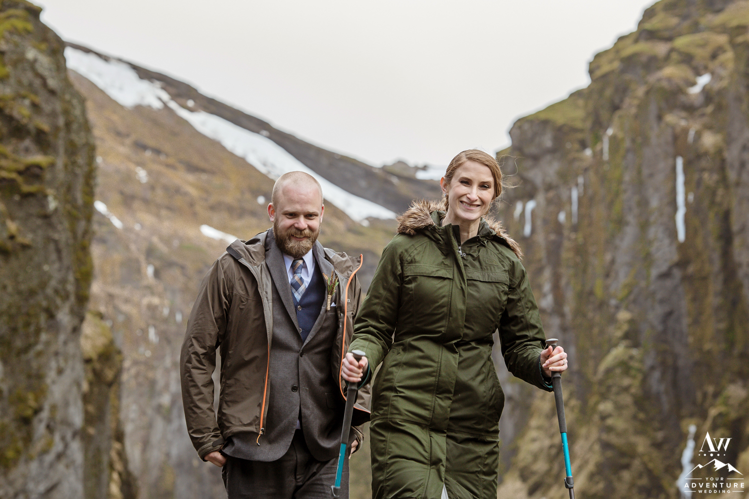 Couple Hiking During Iceland Wedding Day
