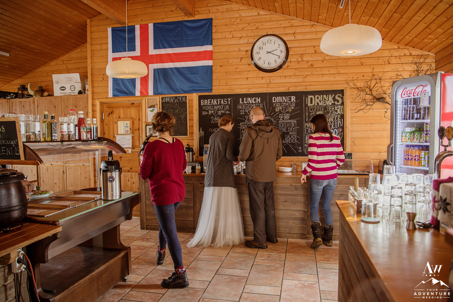 Couple getting coffee during Iceland Adventure Wedding