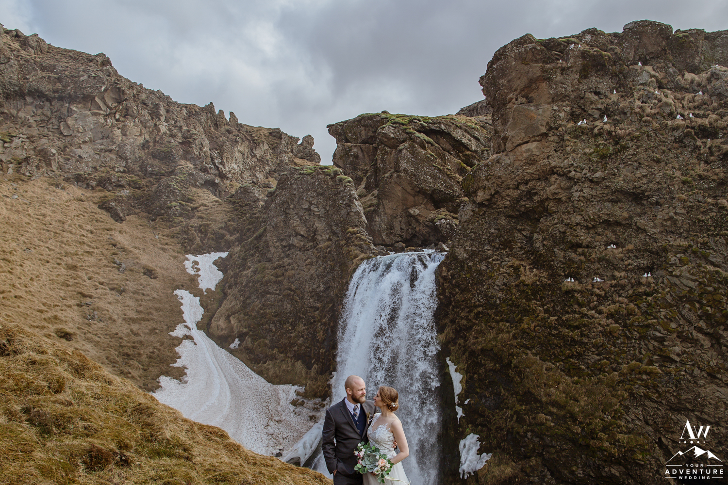 Iceland Elopement Couple looking at each other in front of a waterfall